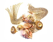 Reserved for Joanne, Elegant and sassy, Rich golds, pink,frosted crystals, Barock collection, Couture jewelry by Monikque