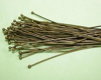 50pc 60mm long (gauge 21) antique bronze round head pin-9216