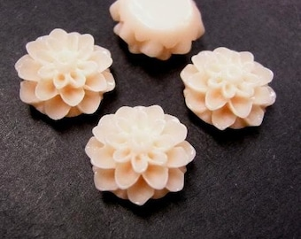 6pc peach Resin Flower Cabochon-3725