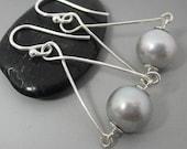Silvery Grey Freshwater Pearl Sterling Silver Drop Earrings