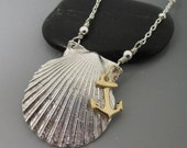 Fine Silver .999 Shell with 14kt Gold Filled Anchor Sterling Silver Necklace