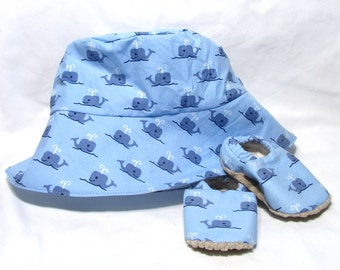 Blue Whale Sunhat with SPF50+ Lining Fabric and Velcro Straps 7 SIZES!