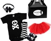 My Dad Rocks Gift Set red Tutu skirt, My Dad Onesie, Hat, Bow, Black & White Leg Wamers, Skull Booties