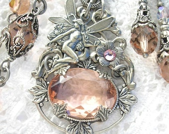 Peach Frost - Fairy and Rosaline Glass Jewel Necklace and Earring Set - Antiqued Silver Victorian Style Jewelry