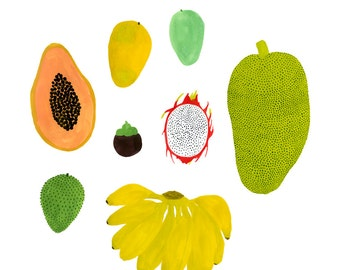 Tropical Fruits print 8x10