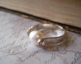 Pearl Ring, Sterling Silver, Natural Pearl, Wire Wrapped, Signature Wrap, Sterling Band, Size 8 Ring, Handmade Ring, Womens Jewelry