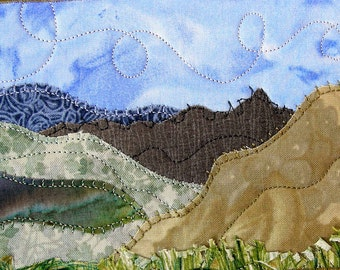 Fabric Postcard Handmade Quilted Postcard  Postcard Art Landscape Art Hills Greeting Cards Nature Landscape Mountains Grass Hills Fiber Art