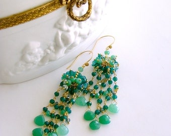 Carved Green Onyx Chrysoprase Prasiolite Chandelier Earrings - Eveleen Earrings
