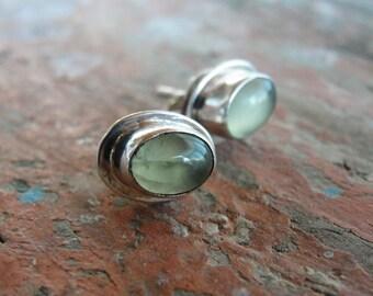 Jade Stud Earrings Sterling silver studs Lime Green Jade Semi Precious Stone