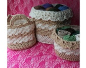 Crochet Storage - Crochet Basket Patterns - Drop Over Lace Edge - Child Toy Box - Housewarming or Wedding Gift Idea EBook 3