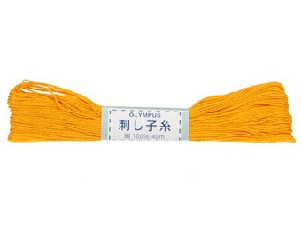 OLYMPUS Sashiko Thread #16 YELLOW- 100% cotton - 40 meter skein - Hand Quilting and Stitching- Japanese Imported