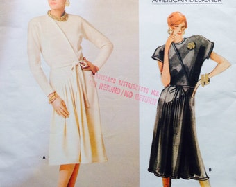Vogue American Designer Sewing Pattern Vintage 80s Geoffrey Beene Wrap Style Dress Pleated 36 Bust