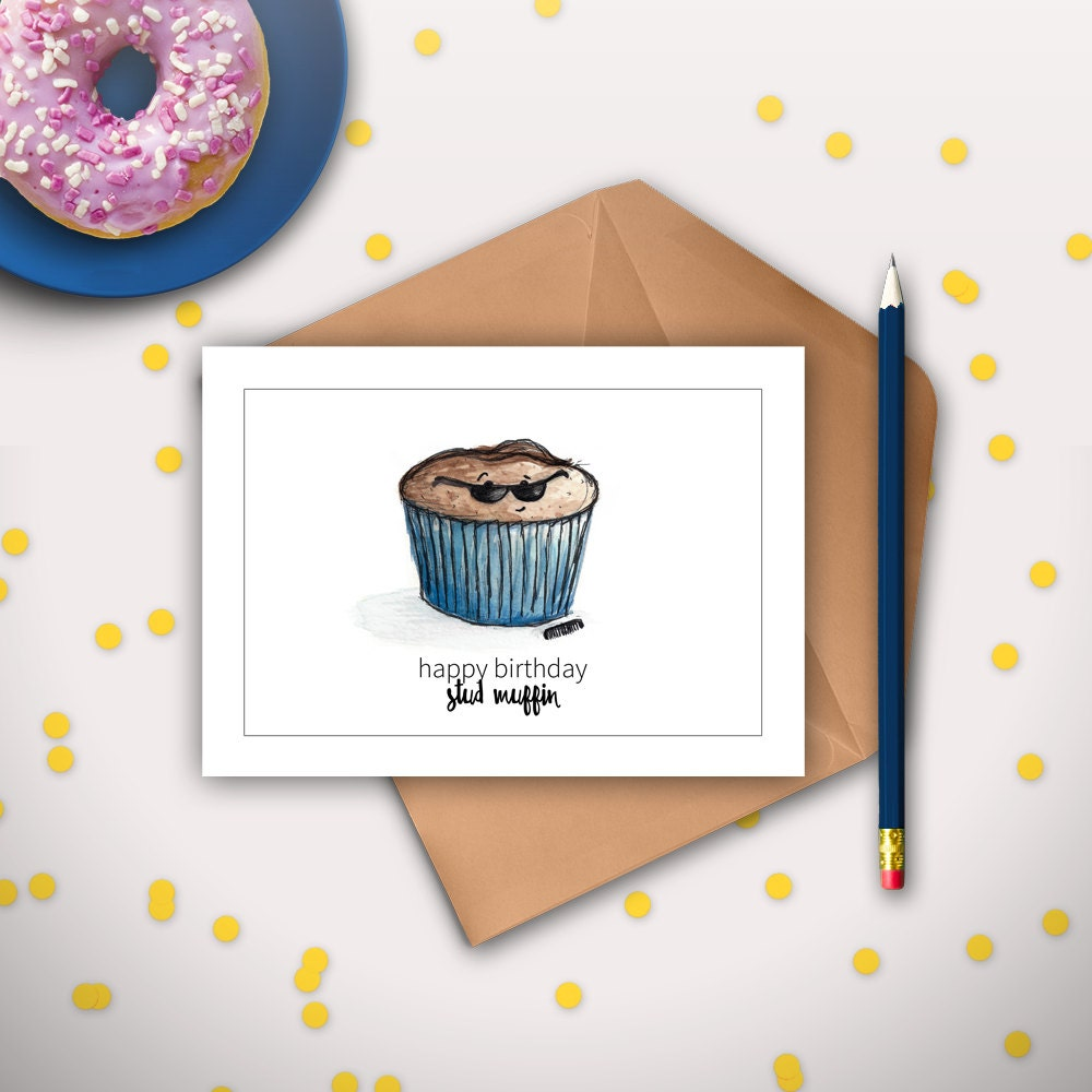 boyfriend birthday card husband birthday card stud muffin