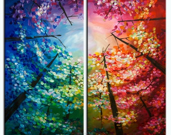Original oil painting Tree painting Looking Up Woodland Art Wall art Modern canvas art Wall Hanging by tim lam 48x48