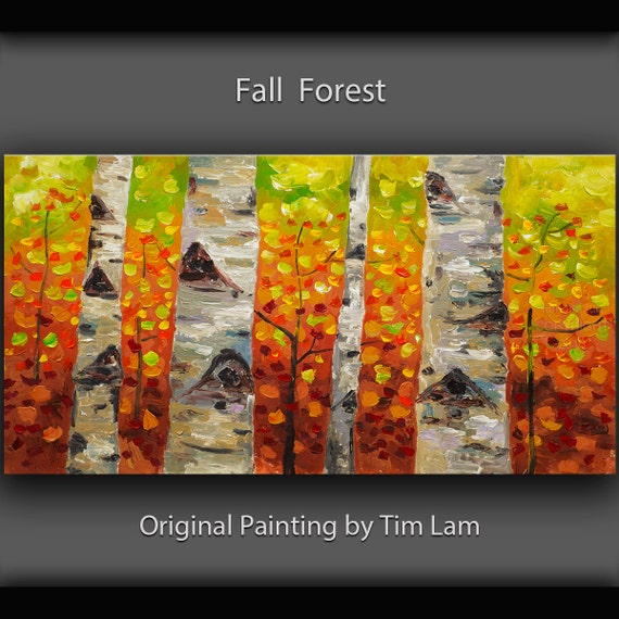 Colorado aspen forest art, Original Oil Painting, abstract landscape painting on Gallery Canvas, Ready to Hang from elseart. Size: 48x24