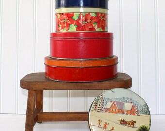 Vintage Christmas Tins - Set of 6 - Storage - Gift Boxes