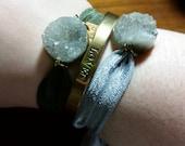 Druzy Bracelet | Grey or Olive