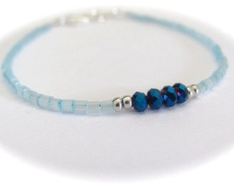 Light Blue Bracelet, Seed Bead Bracelet, Beaded Bracelet, Friendship Bracelet, Tiny Bracelet, Blue Crystal Silver Plated Bracelet