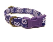 Grape Lace - Organic Cotton CAT Collar Purple White Polka Dot Breakaway Safety - All Antique Brass Hardware