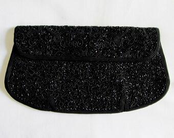 K&G Charlet Beaded Black Clutch Bag. Made in Japan
