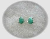 Genuine Columbian Emerald 6x4mm Gemstones in 925 Sterling Silver Stud Earrings