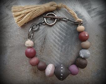 Bohemian Bracelet, Clay Beads, Hemp Tassel, Handmade, Original, Hand Painted