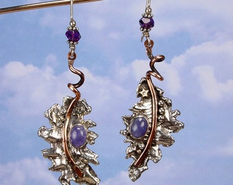SILVER LEAF Earrings - OOAK One Of A Kind - Sterling 925 Earrings, Bronze Accents, Tanzanite Cabochon