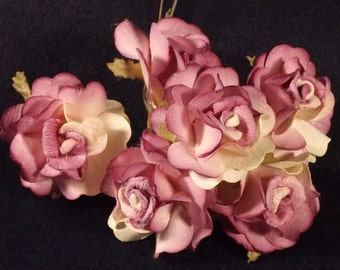 New Paper Roses, Lavender White combination, use for Dolls, Flower Crowns, Millinery, Weddings, Crafts