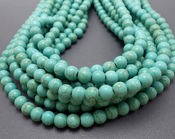 50 Turquoise Howlite Beads 8MM (H7017)