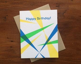 80s Birthday Blue, single letterpress card