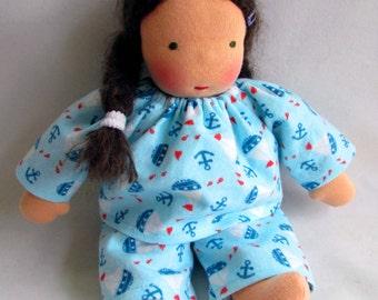 Sailboats, 10 - 12 inch, Waldorf doll clothes, doll Pajamas, doll sleepwear, for boy dolls, handmade dolls, Waldorf toys, Waldorf dolls