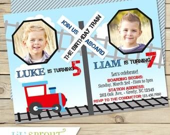 Train Joint Birthday Invitation, Train Dual Birthday Invitation, Train Twin Birthday Invitations, Printable Train Birthday Invitation,