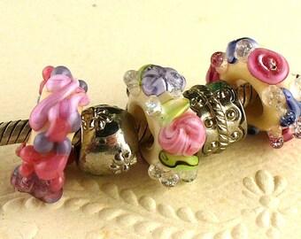 Lampwork Glass Beads by Catalina Glass SRA Garden Garland Big Hole Beads