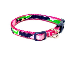 Dog Collar Made from Lilly Pulitzer Mini Getaway Garden Fabric: XXS or XS