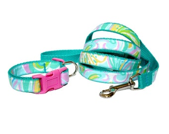2015 Double Trouble Dog Collar and Leash Set Made from Lilly Pulitzer Fabric Size: Your Choice