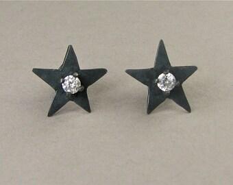 Star earrings, black star studs, star and CZ posts, black star jewelry, black stars, black post earrings, black star posts