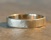 ready to ship - archer ring - men's wedding band in faceted 14k white gold, beautiful brushed satin