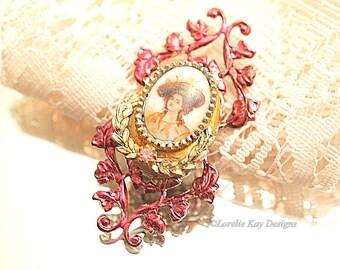 Cameo Protrait Brooch Small Elegant Vintage Assemblage Burgundy Gold Pin Broach Lorelie Kay Designs