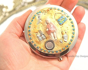 I Enjoy Being a Girl Magnifying Purse Mirror W/Pouch Mixed Media Frozen Charlotte Doll Art One-of-a-Kind