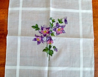 Vintage Floral Handkerchief - Swiss Block Print - Columbine - MWT
