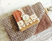 Crazy Quiltin key clip card keeper Repurposed Wool Vintage lace