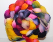 Kettle dyed top. Roving. Cheviot wool. Spin. Felt. Carnival  4.4oz.