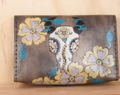 Leather Bookworm Clutch - Black Eyed Nellie Pattern -  Cow Skull Flower Clutch Purse Wristlet Waist Bag - Purple Yellow Turquoise