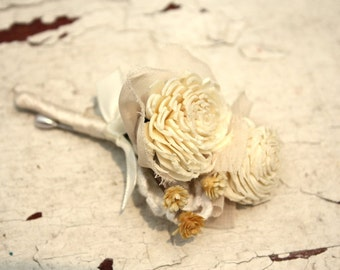 Sola flower boutonniere, grooms boutonniere, sola wood flower bout