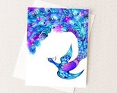Peacock Feather Fantasy - Watercolor Greeting Card - Abstract Floral Bird Painting