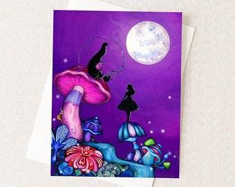 Halloween Card Alice in Wonderland Caterpillar - Dark Fairytale Fantasy Card - Blank Inside - Unique Halloween Artwork Card