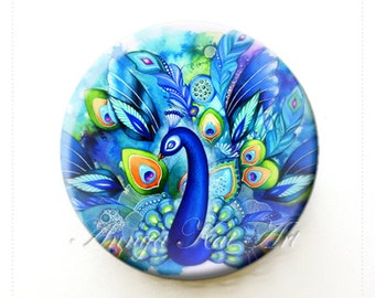 Watercolor Peacock - Watercolor Feather Art Print - Purse Compact Mirror - Beautiful Spa Basket Addition or Gift