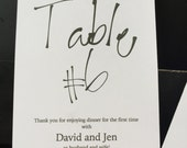 Personalized Wedding Table Numbers Artsy Calligraphy type
