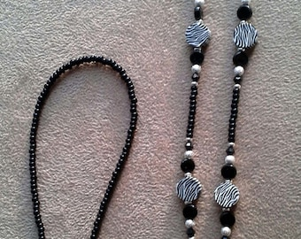 Zebra Animal Print Eyeglass Chain Handmade Beaded
