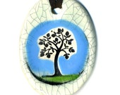 Tree Ceramic Necklace in Crackle